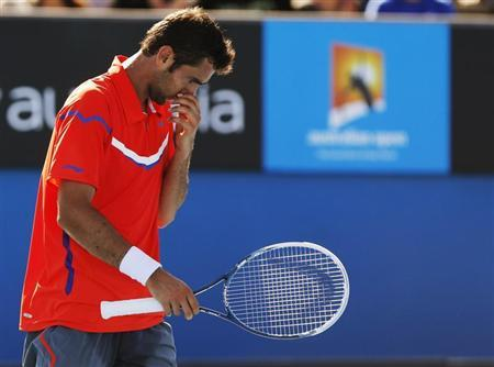 Marin Cilic of Croatia reacts during his men's singles match against Andreas Seppi of Italy at the Australian Open tennis tournament in Melbourne January 19, 2013. REUTERS/Damir Sagolj