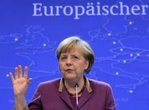 Germany's Chancellor Angela Merkel speaks during a news conference. REUTERS/Yves Herman (BELGIUM - Tags: POLITICS BUSINESS)