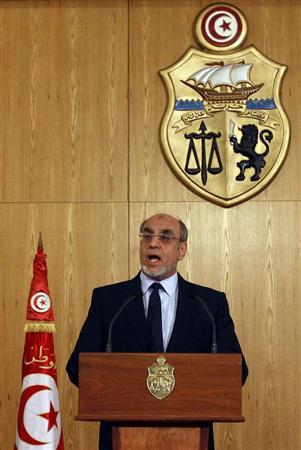 Tunisia's Prime Minister Hamadi Jebali speaks during a news conference in Tunis February 18, 2013. Tunisia's main political parties failed to agree on forming a non-partisan cabinet to tackle turmoil triggered by the assassination of an opposition leader, Jebali said on Monday. REUTERS/Zoubeir Souissi (TUNISIA - Tags: POLITICS CIVIL UNREST)