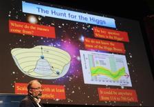 Los científicos están todavía ordenando los detalles del descubrimiento que tuvo lugar el año pasado de la partícula del bosón de Higgs, pero sumaron los números y no parecen buenos para el futuro del universo, dijeron el lunes. En la imagen, de 4 de julio, Pier Oddone habla durante una conferencia sobre el descubrimiento del bosón de Higgs en Melbourne. REUTERS/Mal Fairclough