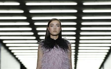 A models presents a creation from the Erdem Autumn-Winter 2013 collection during London Fashion Week, February 18, 2013. REUTERS-Olivia Harris