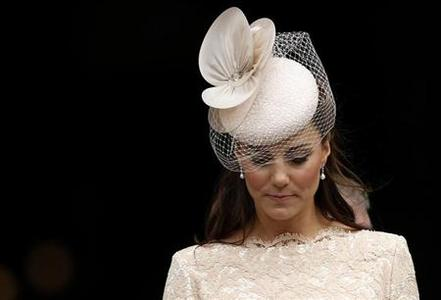 Catherine, Duchess of Cambridge, leaves after a thanksgiving service to mark the Queen's Diamond Jubilee St Paul's Cathedral in central London June 5, 2012. REUTERS/Andrew Winning/Files