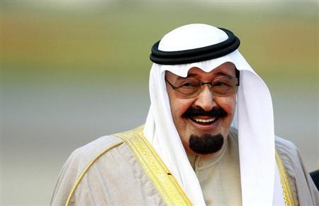Saudi Arabia's King Abdullah arrives at Heathrow Airport in west London October 29, 2007. REUTERS/Dylan Martinez