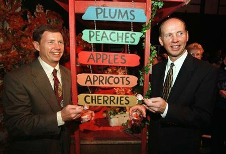 File photo of Chairman of The J.M. Smucker Company, Tim (L) and CEO Richard (R) both greatgrandsons of the company's founder Jerome M. Smucker, celebrating the 100th anniversary of the company by hosting a breakfast for the entire town of Orrville, Ohio at the high school in Orrville October 24, 1997. ncl/Photo by Neal C.