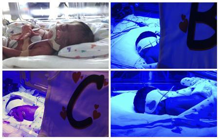 A combination picture show shows two sets of identical twins, top row; Ace and Blaine (R), bottom row; Cash and Dylan (R) at the Woman's Hospital of Texas in these February 18, 2013 handout photographs. The brothers were born to Tressa Montalvo on Valentine's Day, February 14, 2013. The odds of delivering two sets of naturally occurring identical twins is somewhere in the range of 1 in 70 million, according to the hospital. REUTERS/The Woman's Hospital of Texas/Handout