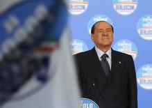 Former Italian Prime Minister Silvio Berlusconi attends a political rally in Turin February 17, 2013. REUTERS/Giorgio Perottino