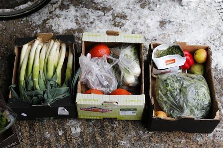 Vegetables pulled out from waste bins of an organic supermarket are pictured in Berlin, January 24, 2013. REUTERS/Fabrizio Bensch