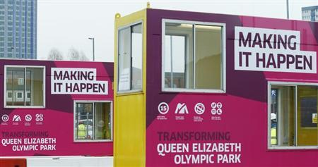 Temporary offices stand at the entrance to the Queen Elizabeth Olympic Park in east London January 25, 2013. REUTERS/Olivia Harris
