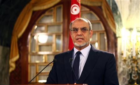 Tunisia's Prime Minister Hamadi Jebali speaks as he announces his resignation during a news conference in Tunis February 19, 2013. REUTERS/Zoubeir Souissi