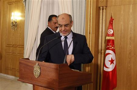 Tunisia's Prime Minister Hamadi Jebali arrives to address a news conference in Tunis February 18, 2013. REUTERS/Zoubeir Souissi