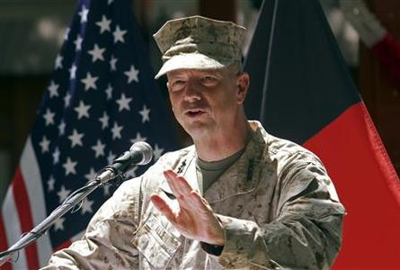 U.S. General John Allen, commander of the North Atlantic Treaty Organization (NATO) forces in Afghanistan, speaks during U.S. Independence Day celebrations in Kabul, in this July 4, 2012 file photo. REUTERS/Mohammad Ismail/Files