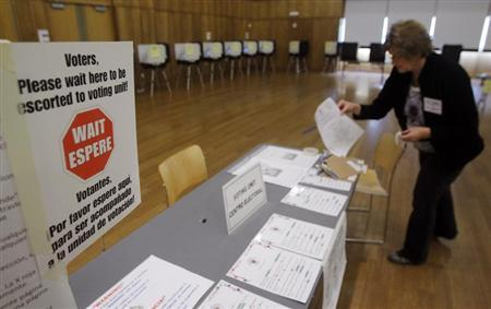 An election judge deals with paper work prior to early voting in Silver Spring, Maryland October 27, 2012. REUTERS/Gary Cameron