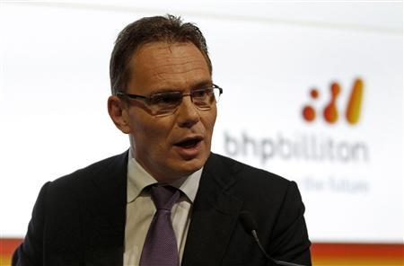 BHP Billiton's newly appointed chief executive officer Andrew Mackenzie talks during a media conference in Sydney February 20, 2013. BHP Billiton said the appointment of Mackenzie did not signal a change in strategy at the world's largest miner. Mackenzie, an energy expert who worked for BP Plc for 22 years, was named as successor to Marius Kloppers, who will stand down later this year. REUTERS/Daniel Munoz