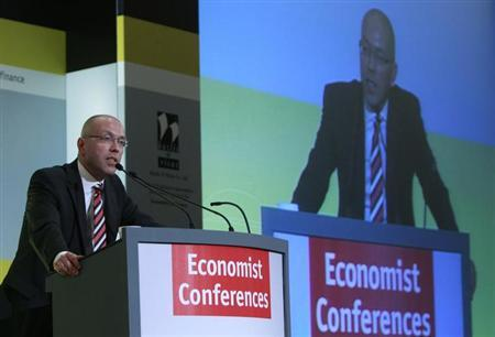 European Central Bank (ECB) Executive Board member Joerg Asmussen delivers his speech during an economic conference in Athens July 2, 2012. Greece and its partners must do everything to ensure that the country's debt to GDP ratio target is kept at 120 percent in 2020 since anything beyond that would be unsustainable, Asmussen said on Monday. REUTERS/John Kolesidis (GREECE - Tags: POLITICS BUSINESS)
