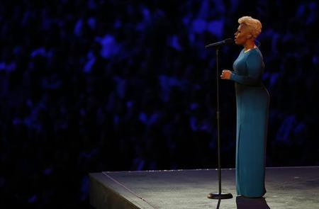 British singer Emeli Sande performs ''Abide With Me'' at the opening ceremony of the London 2012 Olympic Games at the Olympic Stadium July 27, 2012. REUTERS/Mike Blake