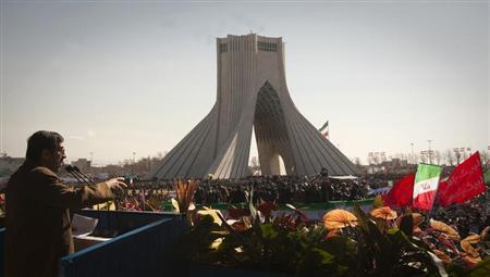 File photo of Iranian President Mahmoud Ahmadinejad speaking during a ceremony to mark the 33rd anniversary of the Islamic Revolution, in Tehran's Azadi square February 11, 2012. REUTERS/Raheb Homavandi