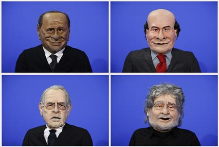 A combination photo shows puppets of Italian politicians (clockwise, from L to R) Silvio Berlusconi, Pier Luigi Bersani, Beppe Grillo, Mario Monti during the filming of a television show in Rome February 7, 2013. REUTERS/Tony Gentile/Files