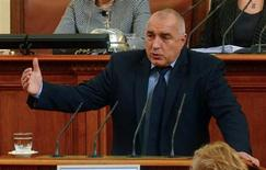 Bulgarian Prime Minister Boiko Borisov speaks in the Parliament in Sofia February 20, 2013. Bulgaria's government resigned from office on Wednesday after nationwide protests against high electricity prices, joining a long list of European administrations felled by austerity. Prime Minister Borisov had tried to calm protests by sacking his finance minister, pledging to cut power prices and punish foreign-owned companies but the measures failed to defuse discontent and protests continued on Tuesday. REUTERS/Julia Lazarova (BULGARIA - Tags: POLITICS TPX IMAGES OF THE DAY)