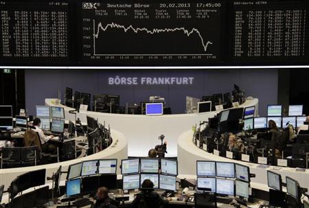 A cameraman films in front of the DAX board at the Frankfurt stock exchange February 20, 2013. REUTERS/Remote/Janine Eggert (GERMANY - Tags: BUSINESS)