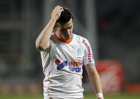 Olympique Marseille's Joey Barton reacts after their French Ligue 1 soccer match against FC Lorient at the Velodrome Stadium in Marseille December 9, 2012. REUTERS/Philippe Laurenson