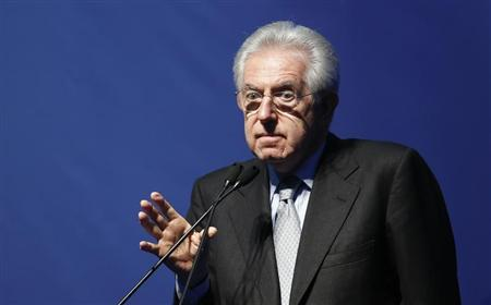 Italy's outgoing Prime Minister Mario Monti speaks during a meeting in Rome February 15, 2013. REUTERS/Tony Gentile