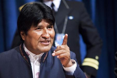 Bolivia's President Evo Morales speaks to the media after the 64th plenary meeting of the General Assembly 67th session marking the global launch of the International Year of Quinoa at UN headquarters in New York, February 20, 2013. REUTERS/Eduardo Munoz