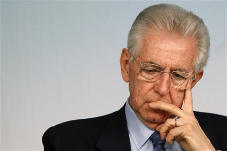 Italian Prime Minister Mario Monti attends a news conference at Chigi palace in Rome in this April 18, 2012 file photo. REUTERS/Tony Gentile/Files