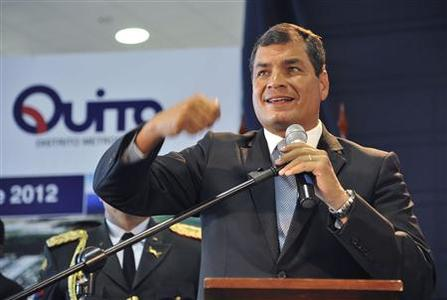 Ecuador's President Rafael Correa speaks at the opening ceremony of the New Mariscal Sucre International Airport in Tababela parish, about 20km (12.4 miles) northeast of Quito February 19, 2013. REUTERS/Gary Granja
