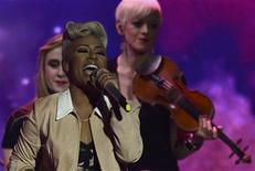 British singer Emily Sande performs during the BRIT Awards, celebrating British pop music, at the O2 Arena in London February 20, 2013. REUTERS/Dylan Martinez