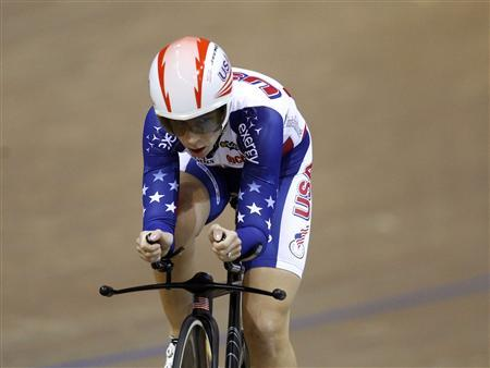 Sarah Hammer of the U.S. rides to win the gold medal during the women's individual pursuit final at the 2013 UCI Track Cycling World Championships in Minsk February 20, 2013. REUTERS/Vasily