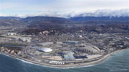 An undated handout photograph provided by Government-owned corporation Olympstroy shows a view of the construction of venues and transport links for the 2014 Winter Olympics in the Russian Black Sea resort of Sochi. REUTERS/GK Olympstroy/Handout