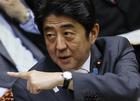 Japan's Prime Minister Shinzo Abe attends an upper house budget committee session at the parliament in Tokyo February 19, 2013. REUTERS/Toru Hanai