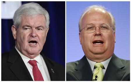 A combination photographs shows former Speaker of the House Newt Gingrich (L) in Waukesha, Wisconsin on March 31, 2012 and former Bush administration advisor Karl Rove in Beverly Hills, California on July 14, 2008 respectively. REUTERS/Darren Hauck, Fred Prouser/Files