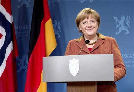 German Chancellor Angela Merkel smiles during a news conference after her talks with Norwegian Prime Minister Jens Stoltenberg in Oslo February 20, 2013. REUTERS/Thomas Winje Oijord/NTB Scanpix/Pool