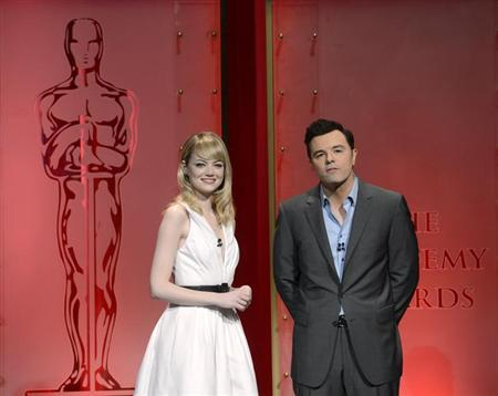 Emma Stone (L) and Seth MacFarlane speak at the 85th Academy Awards nominee announcements in Beverly Hills, California January 10, 2013. The Oscars will be presented Sunday February 24. REUTERS/Phil McCarten
