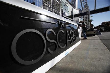 A sign is pictured during preparations for the 85th Academy Awards in Hollywood, California February 20, 2013. REUTERS/Mario Anzuoni