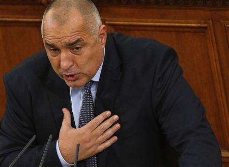 Outgoing Bulgarian Prime Minister Boiko Borisov speaks during a debate at the parliament in Sofia February 21, 2013. Bulgaria's parliament accepted the government's resignation on Thursday after a spate of violent protests over high utility bills, opening the way for an early election and underscoring anger in Europe over weak growth and austerity. Outgoing Prime Minister Boiko Borisov, who had won praise from investors by cutting the Balkan state's budget deficit, is now struggling to rebuild support among voters weary of persistent poverty and graft. REUTERS/Stoyan Nenov