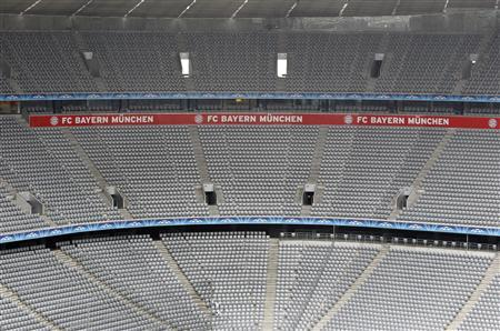 A general view shows the seats of the Allianz Arena stadium in Munich on April 16, 2012. REUTERS/Michaela Rehle