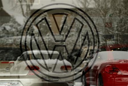 A logo of Volkswagen is pictured a car dealer in the western city of Hamm January 14, 2013. REUTERS/Ina Fassbender