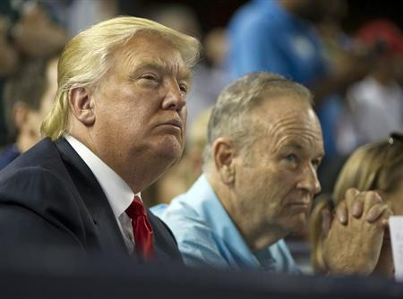 Donald Trump and television personality Bill O'Reilly watch the New York Yankees play the Baltimore Orioles in the fifth inning of their MLB American League game at Yankee Stadium in New York, July 30, 2012. REUTERS/Ray Stubblebine