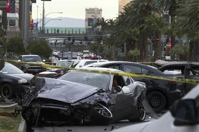 Three die in shooting, fiery crash on Las Vegas Strip