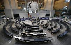 A general overview shows the plenary German lower house of parliament Bundestag during preparation works for the upcoming festivities to celebrate 50 years of the Elysee Treaty in Berlin January 18, 2013. REUTERS/Tobias Schwarz
