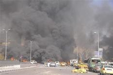 A view shows the site of an explosion at central Damascus February 21, 2013, in this handout photograph released by Syria's national news agency SANA. REUTERS/Sana
