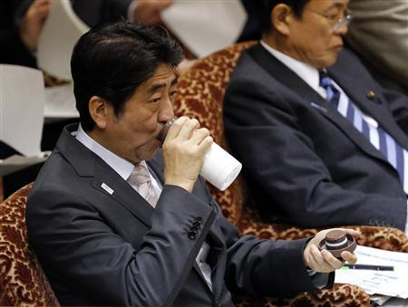 Japan's Prime Minister Shinzo Abe drinks water during an upper house budget committee session at the parliament in Tokyo February 19, 2013. REUTERS/Toru Hanai