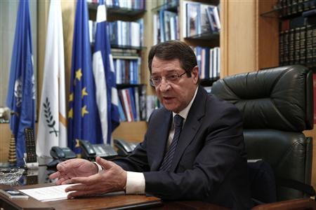 Cyprus presidential candidate Nicos Anastasiades of the right wing Democratic Rally party speaks during an interview with Reuters in Nicosia February 21, 2013. REUTERS/Yorgos Karahalis