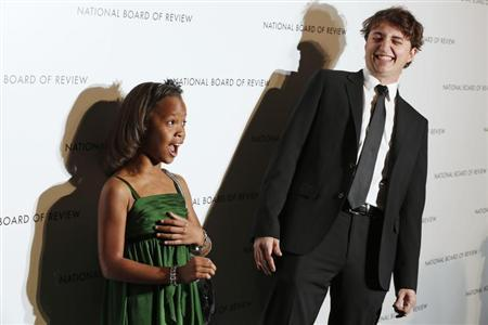 Director Benh Zeitlin and actress Quvenzhane Wallis react as they arrive at the National Board of Review Awards in New York January 8, 2013. REUTERS/Lucas Jackson