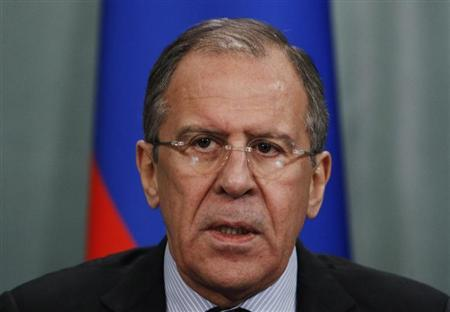 Russian Foreign Minister Sergei Lavrov speaks at a news conference after a meeting of the Russia-Arab cooperation forum in Moscow February 20, 2013. REUTERS/Sergei Karpukhin