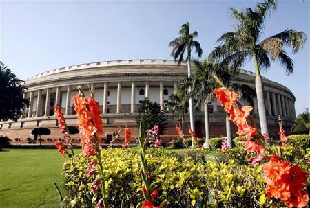 A view of the Indian parliament building on the opening day of the budget session in New Delhi February 23, 2007. REUTERS/B Mathur/Files