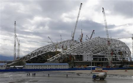 The Fisht Olympic stadium for the Sochi 2014 Winter Olympics, is seen under construction inside the Olympic Park in Adler, near Sochi February 21, 2013. REUTERS/Kai Pfaffenbach