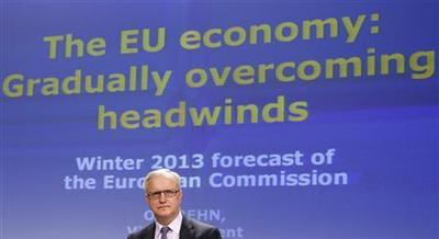 Euro zone economy to shrink again in 2013, EU says
